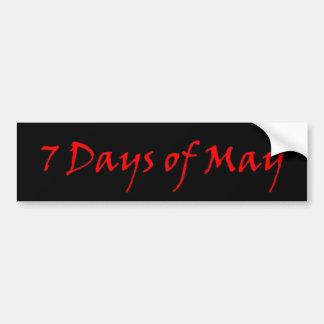 7 días de pueden pegatina para el parachoques roja pegatina de parachoque