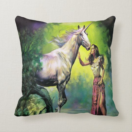 #7-Girl and Unicorn Throw Pillow