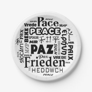 7 inch paper plate peace languages
