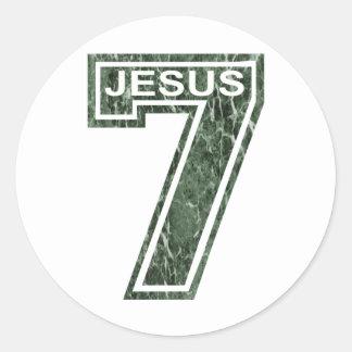 7 Jésus vert marbré Classic Round Sticker
