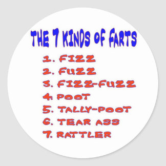 7 KINDS OF FARTS CLASSIC ROUND STICKER