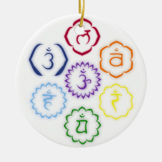 7 Main Chakras in a Circle Double-Sided Ceramic Round Christmas Ornament