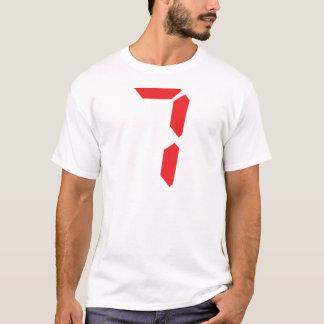 7 número digital del despertador de siete rojos playera