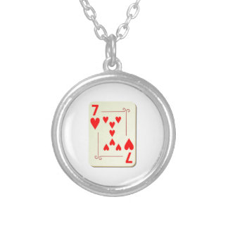 7 of Hearts Playing Card Round Pendant Necklace