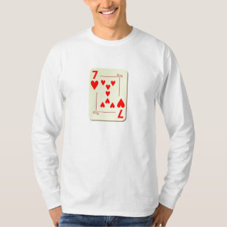 7 of Hearts Playing Card Tee Shirt