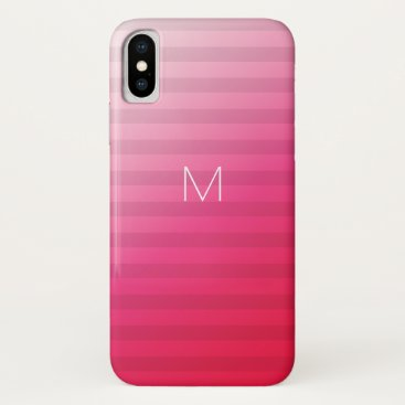 7 Option Modern Monogram Pink Party Stripes iPhone XS Case