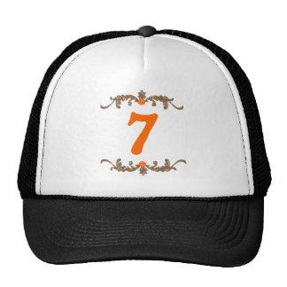 #7 Orange & Brown Scroll Trucker Hat