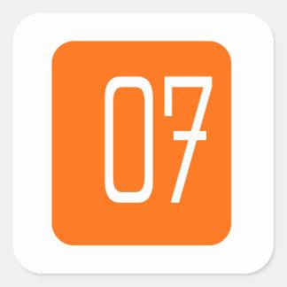 #7 Orange Square Square Sticker