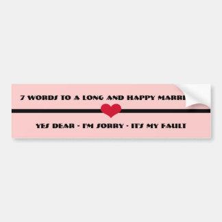 7 palabras a una boda larga y feliz pegatina para auto