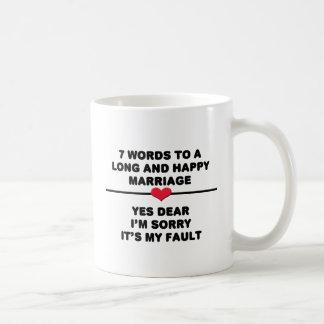 7 palabras para una boda larga y feliz taza de café