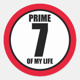 7 - prime of my life classic round sticker