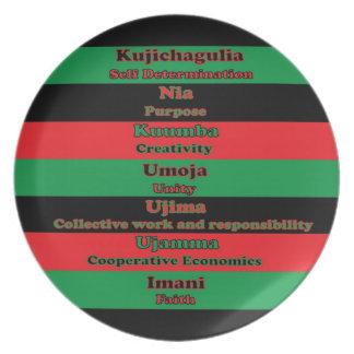 7 principios de placa de Kwanzaa Platos De Comidas