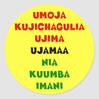 7 Principles of Kwanzaa Classic Round Sticker