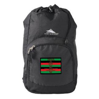 7 Principles of Kwanzaa (Horizontal) High Sierra Backpack
