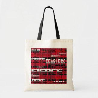 7.Red y feroz audaz de la tela escocesa negra Bolsas