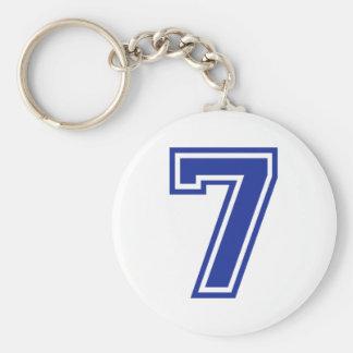 7 - seven basic round button keychain