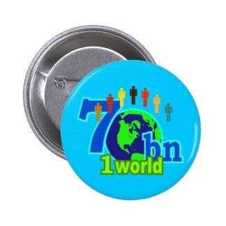 7 Seven Billion World Population Design Button