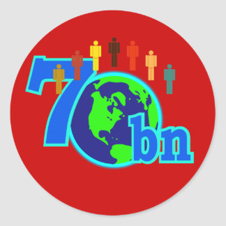 7 Seven Billion World Population Design Classic Round Sticker