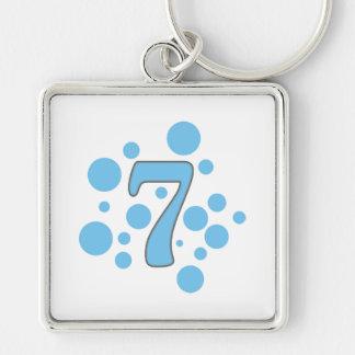 7-Seven Llavero Cuadrado Plateado