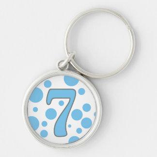 7-Seven Llavero Redondo Plateado