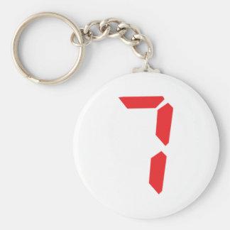 7 seven  red alarm clock digital number basic round button keychain