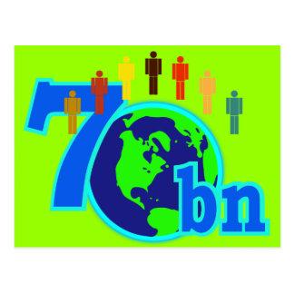 7 siete mil millones diseños de la población de tarjeta postal