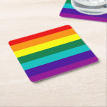 "7 Stripes Rainbow Gay Pride Flag Square Paper Coaster<br><div class=""desc"">7 Stripes Rainbow Gay Pride Flag
