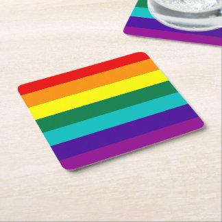 7 Stripes Rainbow Gay Pride Flag Square Paper Coaster