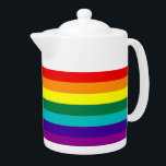 """7 Stripes Rainbow Gay Pride Flag Teapot<br><div class=""""desc"""">7 Stripes Rainbow Gay Pride Flag Teapot    Version with hot pink stripe removed because of the unavailability of hot-pink fabric (1978–79).</div>"""