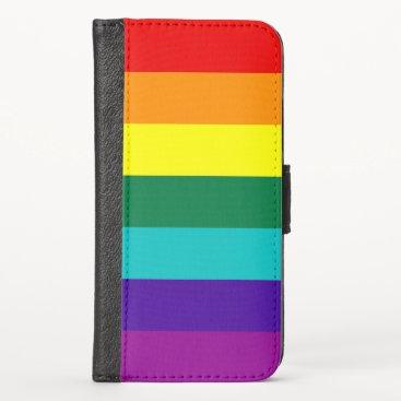 7 Stripes Rainbow Pride Flag iPhone XS Wallet Case