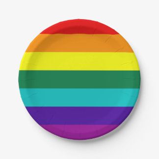 7 Stripes Rainbow Pride Flag 7 Inch Paper Plate