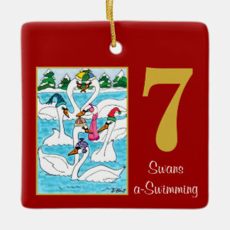7 Swans a Swimming Cute Animals & Typography Ceramic Ornament