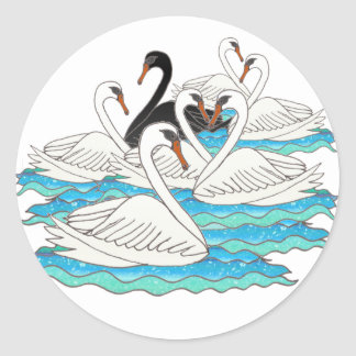 7 Swans aSwimming Classic Round Sticker
