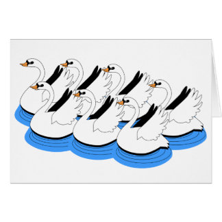 7 Swans Swimming Card