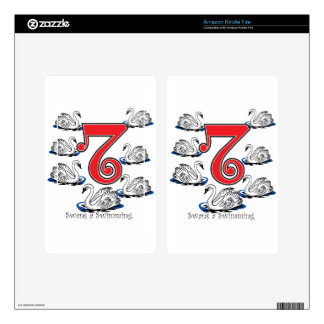 7 Swans Swimming Kindle Fire Decals