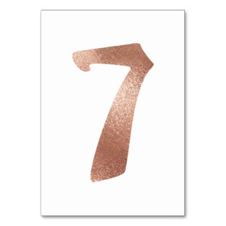 7 Table  Number White Metallic Pink Rose Gold Table Number