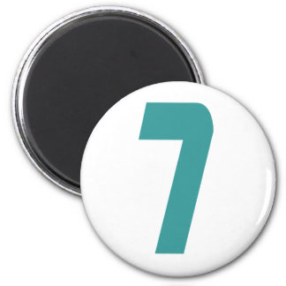 #7 Teal Bold 2 Inch Round Magnet