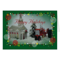 7 toy tractors at christmas card