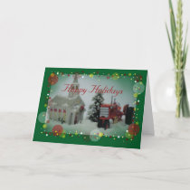 7 toy tractors at christmas holiday card