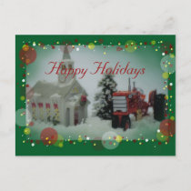 7 toy tractors at christmas holiday postcard