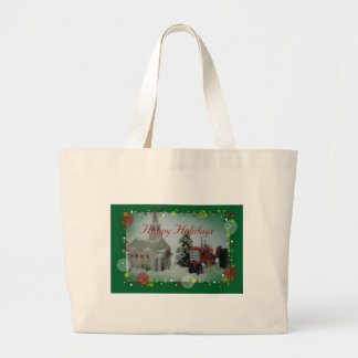 7 toy tractors at christmas large tote bag