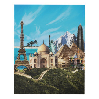 7 wonders of the world travel collage print