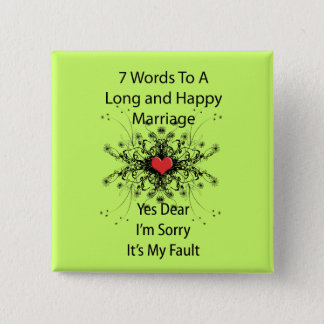 7 Words To A Long Marriage Button