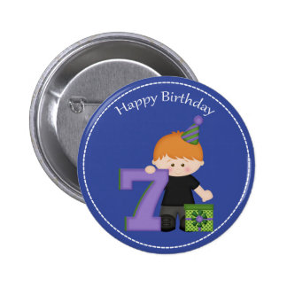 7 year old boys Happy Birthday Button