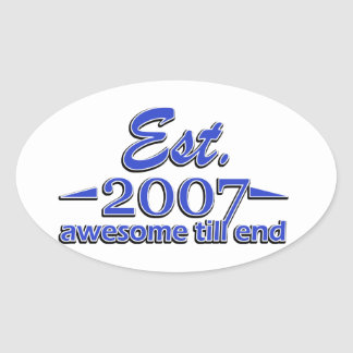 7 year old designs oval sticker