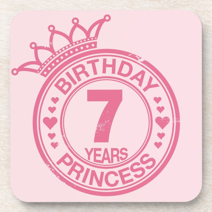 7 years - Birthday Princess - pink Coaster