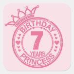 7 years - Birthday Princess - pink Square Sticker