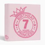 7 years - Birthday Princess - pink Vinyl Binder