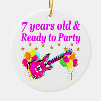 7 YEARS OLD AND READY TO PARTY 7 YR OLD ROCK STAR CERAMIC ORNAMENT