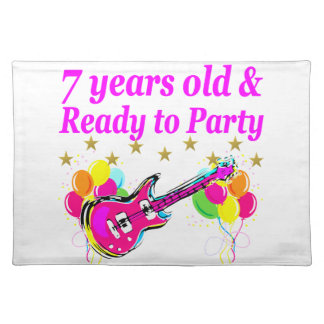 7 YEARS OLD AND READY TO PARTY 7 YR OLD ROCK STAR CLOTH PLACEMAT